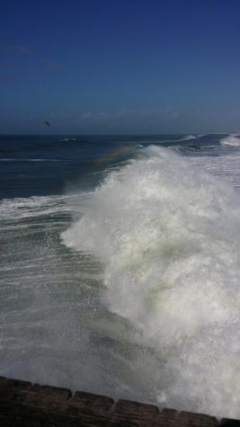 En las olas rompiéndose contra la orilla.